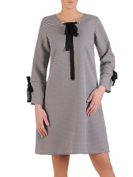 Sukienka damska, czarna kreacja w pepitkę 25388