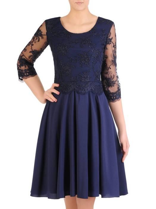 Sukienka damska, granatowa kreacja z koronki i szyfonu 29218