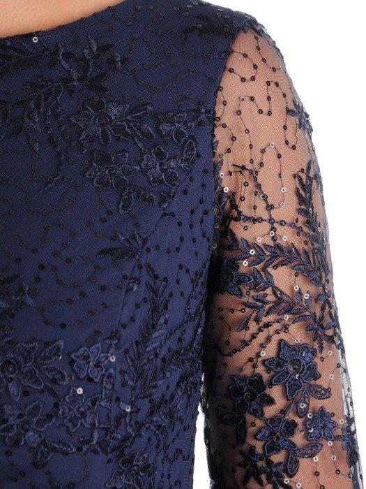 Sukienka damska, granatowa kreacja z koronki i tkaniny 26715