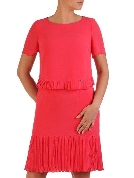 Sukienka damska, koralowa kreacja z ozdobnymi plisami 25993
