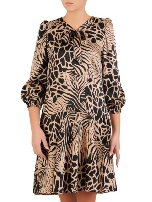 Sukienka damska, kreacja z ozdobnie wiązanym dekoltem 27827