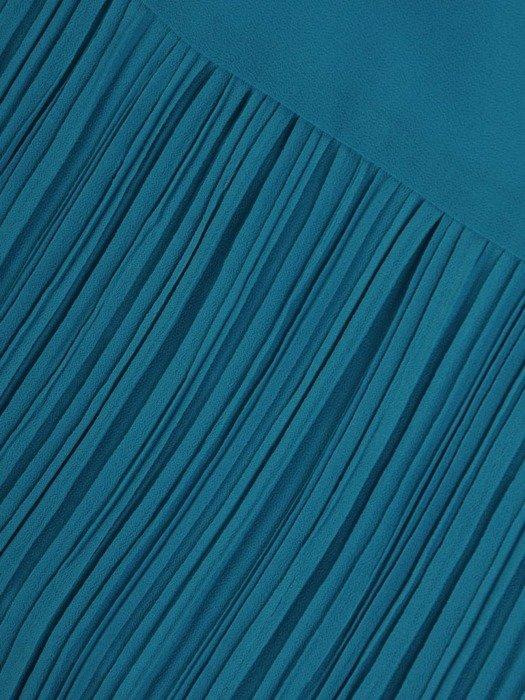 Sukienka damska, turkusowa kreacja z ozdobnymi plisami 25995