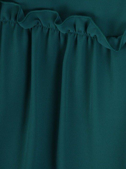 Sukienka koktajlowa, szmaragdowa kreacja z falbanami 25987