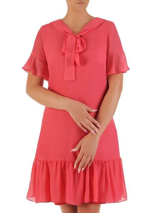 Sukienka koktajlowa, zwiewna kreacja z szyfonu 26455