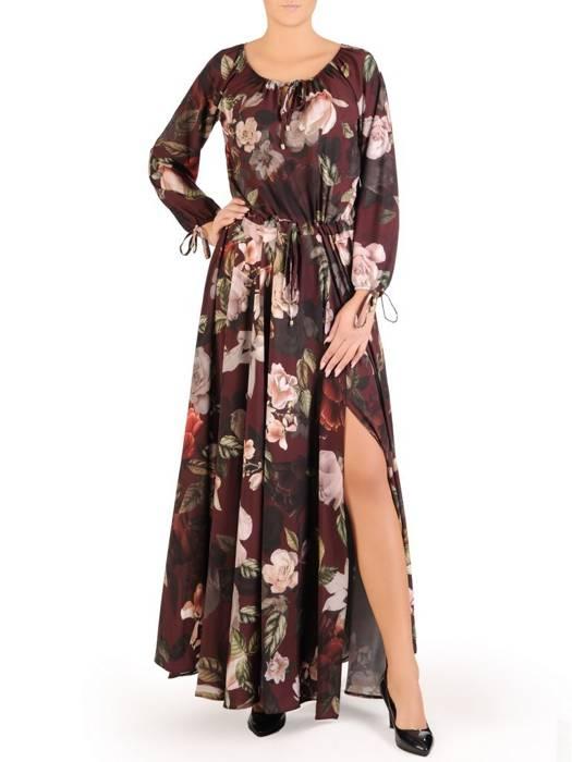 Sukienka maxi, elegancka kreacja z rozcięciem 27674