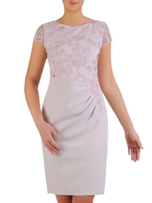 Sukienka na wesele, elegancka kreacja z koronki i tkaniny 25397
