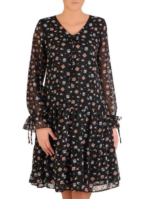 Sukienka o oryginalnym wzorze, zwiewna kreacja z szyfonu 28077