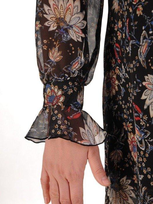 Sukienka o trapezowym kroju, kreacja w kwiaty 25076