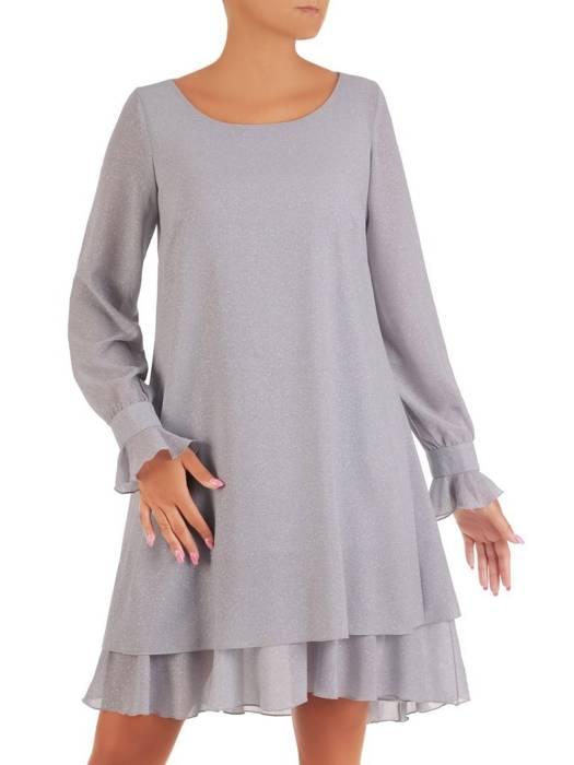 Sukienka o trapezowym kroju, popielata kreacja z falbanami 26934