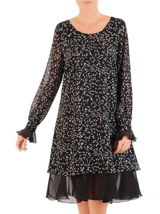Sukienka o trapezowym kroju, szyfonowa kreacja z ozdobnymi mankietami 30486