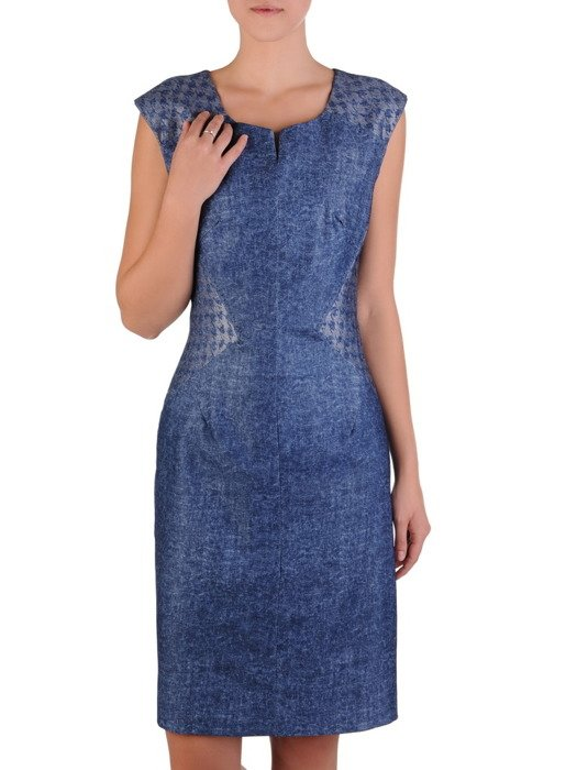 Sukienka ozdobiona pepitką Raisa, wiosenna kreacja w wyszczuplającym fasonie.