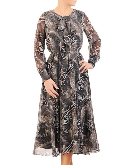 Sukienka szyfonowa, modna kreacja z wiązaniem na dekolcie 30845