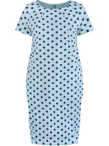Sukienka tuba Mirona LXIV, wyszczuplająca kreacja maskująca brzuch.