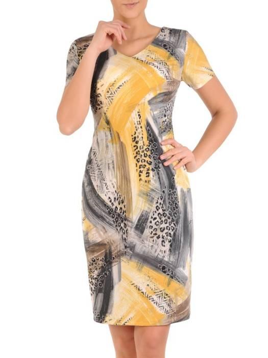 Sukienka w ciekawy wzór, prosty fason z dekoltem w serek  28810