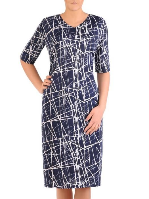 Sukienka w ciekawy wzór, prosty fason z dekoltem w serek 28928