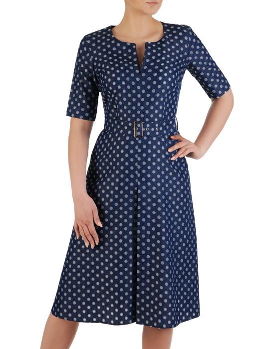 Sukienka w groszki, dżinsowa kreacja z paskiem 20566.