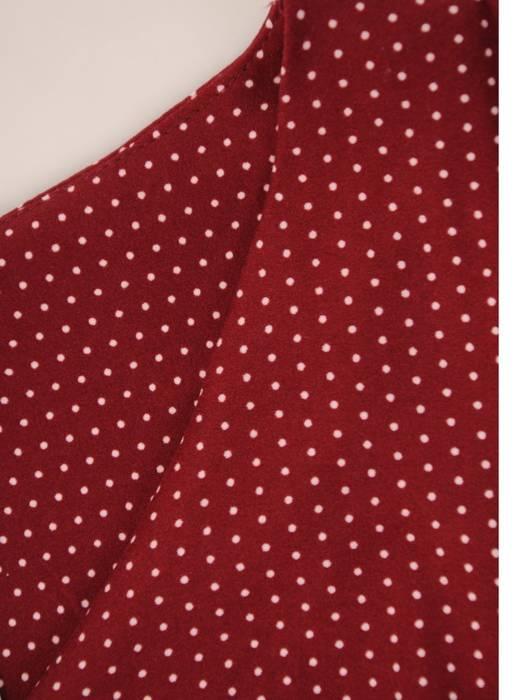 Sukienka w groszki, prosty fason z dekoltem w serek 28796