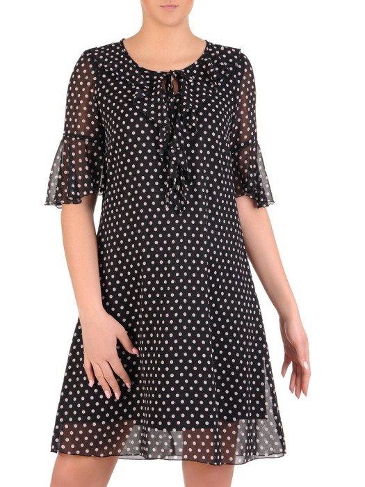 Sukienka w groszki, zwiewna kreacja z szyfonu 19869.