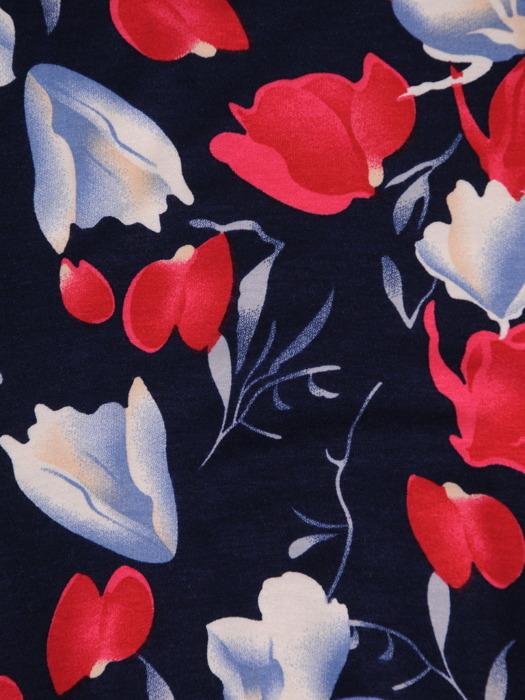 Sukienka w kwiaty, elastyczna kreacja z dzianiny 20490.