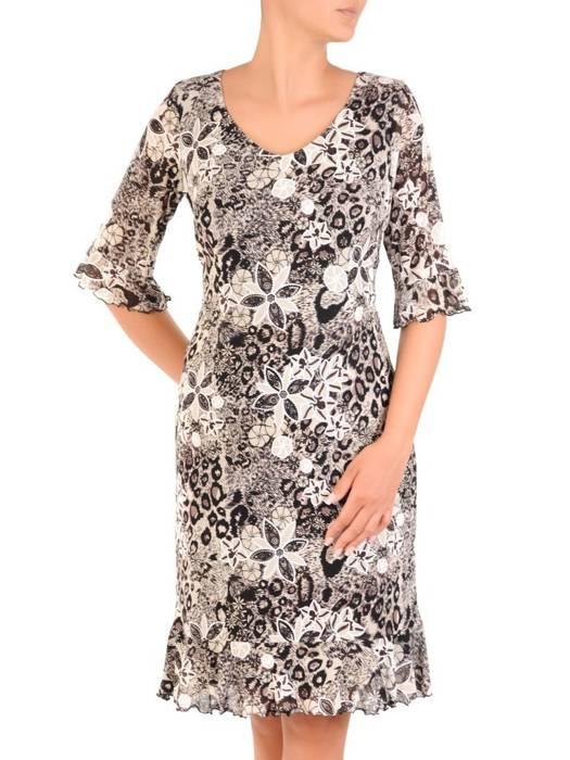 Sukienka w kwiaty, kreacja z ozdobnymi falbanami 30189