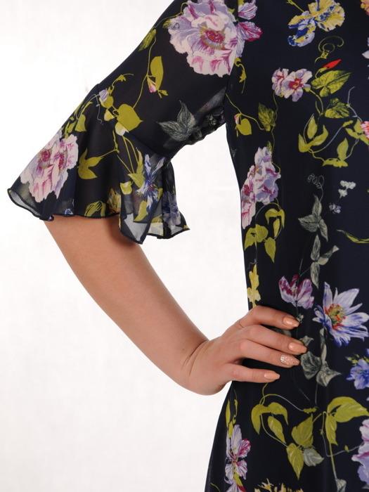 Sukienka w kwiaty, luźna kreacja z szyfonu 20727.