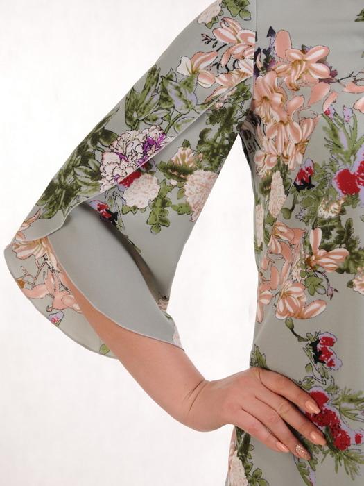 Sukienka w kwiaty, luźna kreacja z tkaniny 20732.