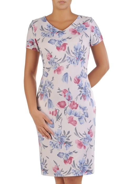 Sukienka w kwiaty, prosty fason z dekoltem w serek 21730.