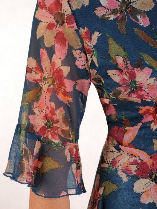 Sukienka w kwiaty, rozkloszowana kreacja z szyfonu 26222