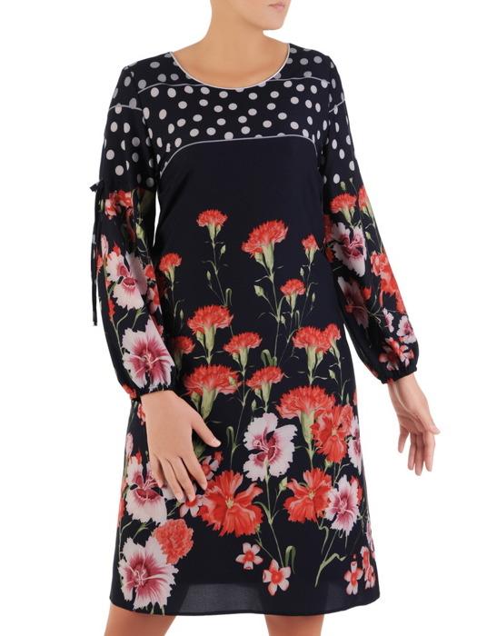 Sukienka w kwiaty, trapezowa kreacja z ozdobnymi rękawami 22110.