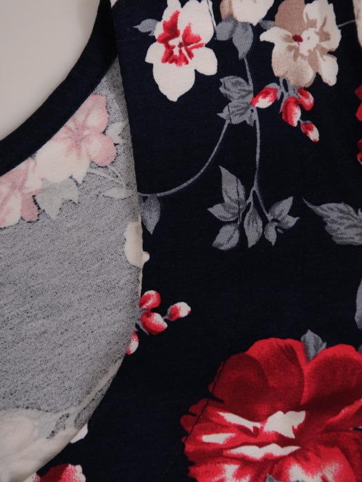 Sukienka w kwiaty, wiosenna kreacja z dzianiny 21037.