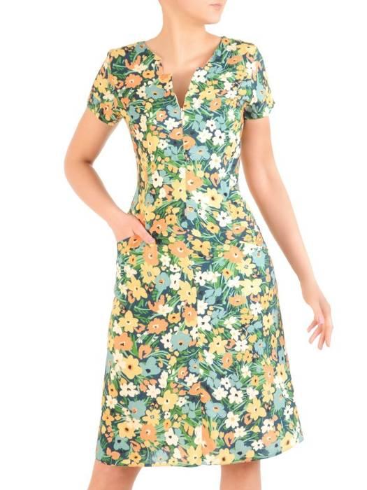 Sukienka w kwiaty, wiosenna kreacja z tkaniny 29524