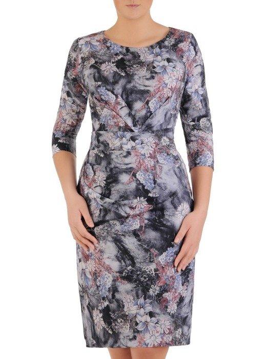 Sukienka w kwiaty z modnymi, wyszczuplającymi zakładkami 24575