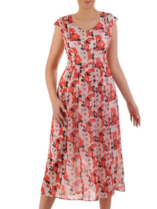 Sukienka w kwiaty, zwiewna kreacja z szyfonu 20915.