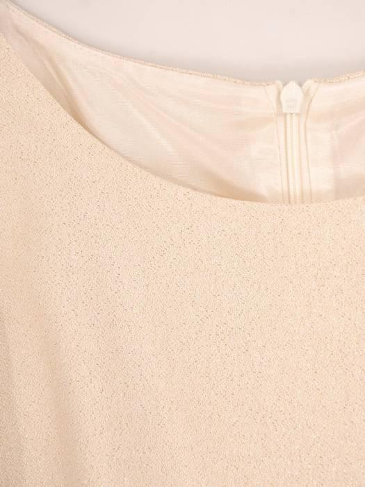 Sukienka wieczorowa, beżowa kreacja z połyskiem 30053