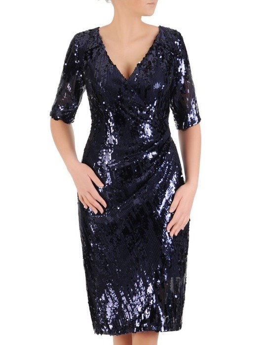 Sukienka wieczorowa, kopertowa kreacja z cekinami 24586
