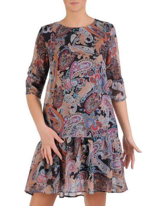 Sukienka wiosenna, zwiewna kreacja z ozdobną falbaną 25430