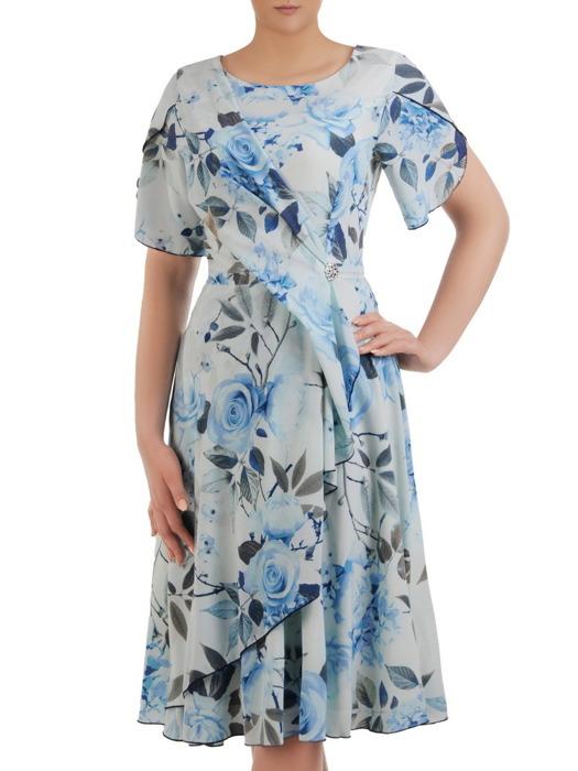 Sukienka wizytowa, rozkloszowana kreacja w kwiaty 20735.