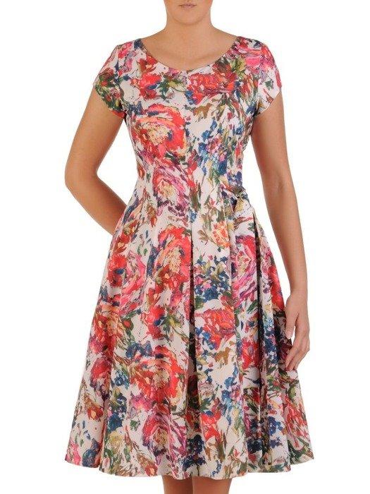 Sukienka wizytowa, rozkloszowana kreacja w kwiaty 26020