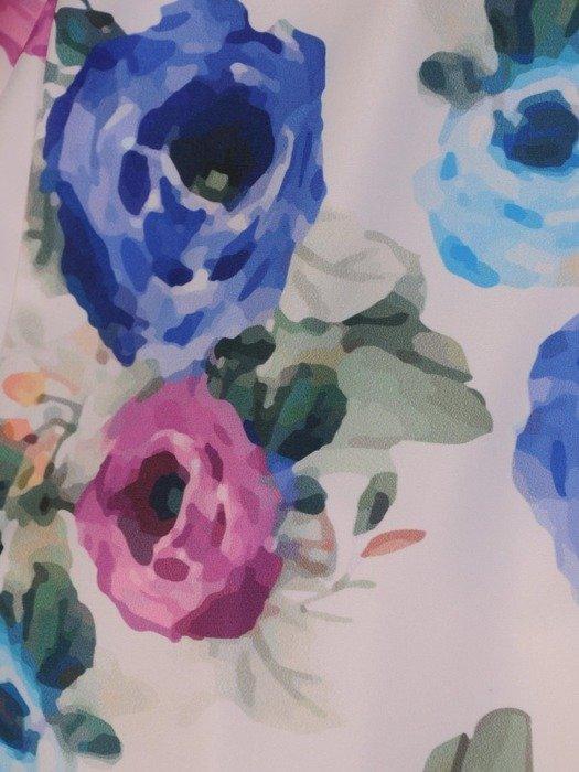 Sukienka wizytowa, rozkloszowana kreacja w kwiaty 26021