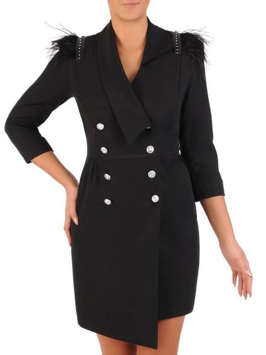 Sukienka wyjściowa, czarna kreacja z ozdobnymi wstawkami 27738