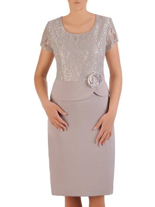 Sukienka wyjściowa, elegancka kreacja z baskinką 26074
