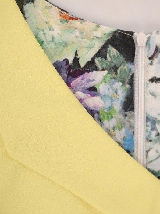 Sukienka wyjściowa, modna kreacja z łączonych tkanin 25882