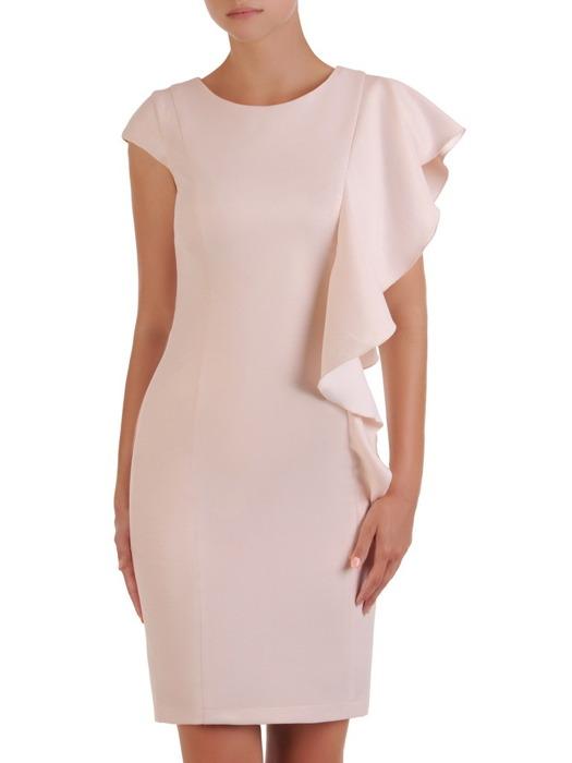 Sukienka wyjściowa, pudrowa kreacja z ozdobną falbaną 21540.