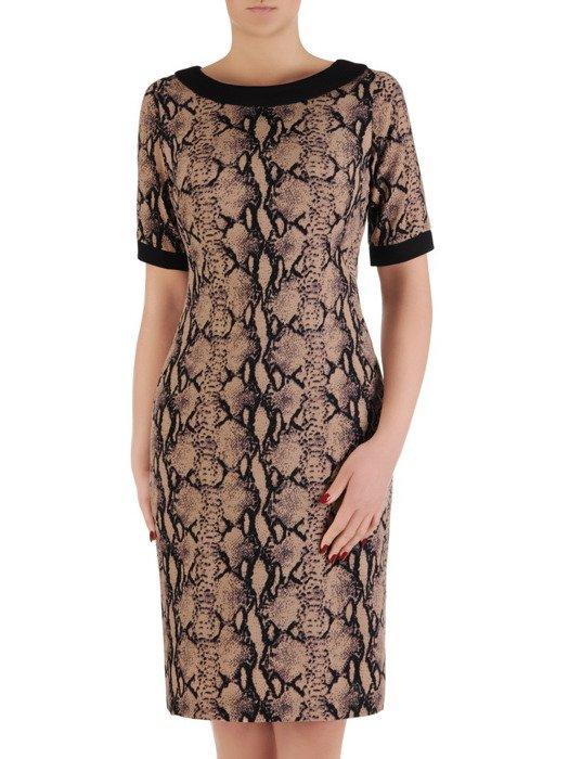 Sukienka wyszczuplająca, wiosenna kreacja w zwierzęcym wzorze 19544.