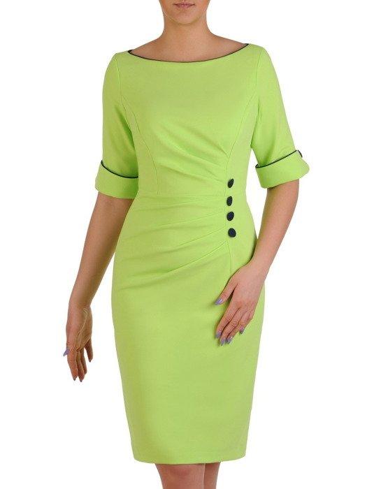 Sukienka wyszczuplająca, zielona kreacja z kontrastowymi wstawkami 20428.