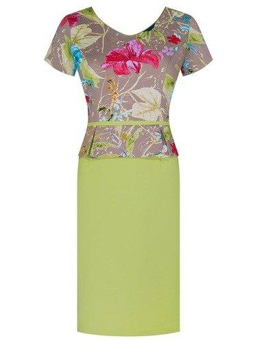 Sukienka z baskinką Paris III, wiosenna kreacja w kwiaty.
