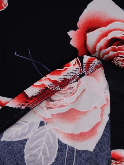 Sukienka z dzianiny, granatowa kreacja w kwiaty 20964.