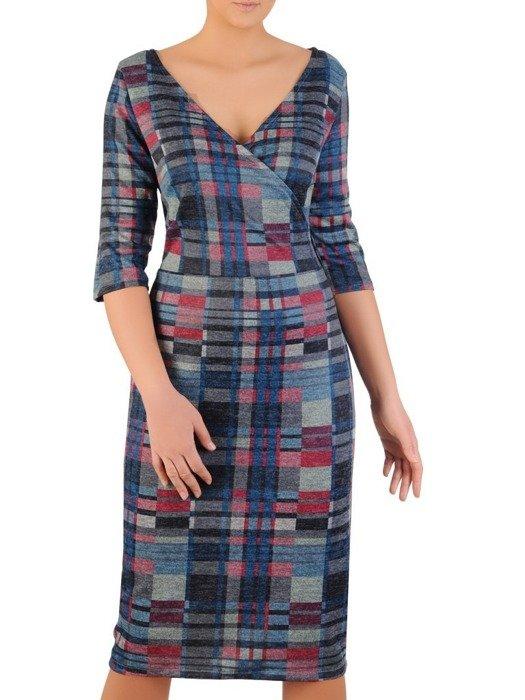 Sukienka z dzianiny, kreacja z kopertowym dekoltem 24128