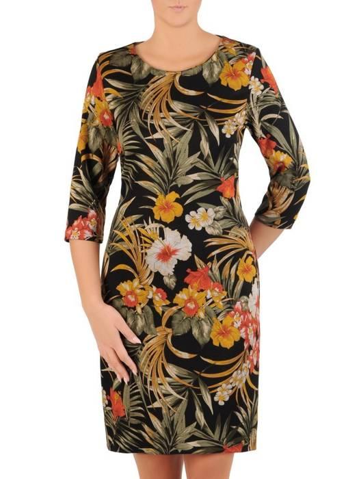 Sukienka z dzianiny, prosta kreacja w kwiaty 27625