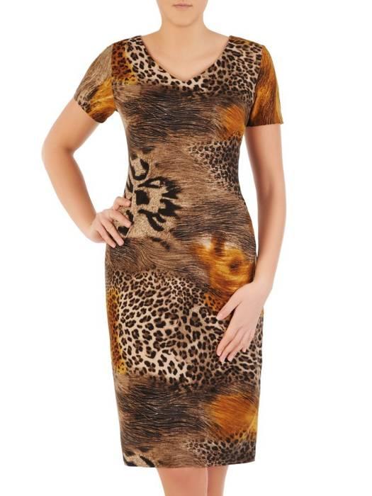 Sukienka z dzianiny, prosta kreacja w oryginalnym zwierzęcym wzorze 28820